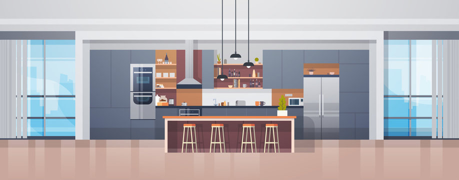 Empty Kitchen Interior With Modern Furniture Counter And Appliances Flat Vector Illustration