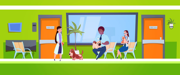 Group Of People With Dogs Sitting In Waiting Room In Vet Clinic Veterinary Medicine Concept Flat Vector Illustration