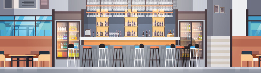 Modern Cafe Or Restaurant Interior With Bar Counter And Bottles Of Alcohol And Glasses On Shelves Horizontal Banner Flat Vector Illustraton