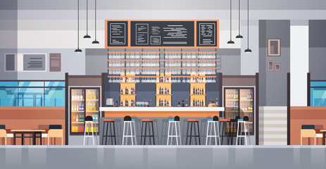 Modern Cafe Or Restaurant Interior With Bar Counter And Bottles Of Alcohol And Glasses On Background Flat Vector Illustraton