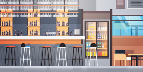 Bar Interior Cafe Counter With Bottles Of Alcohol And Glasses On Shelf Flat Vector Illustraton