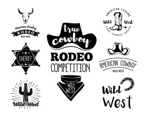 Wild West. Set of vintage rodeo emblems, labels, logos, badges and designed elements. Western USA label about American History.