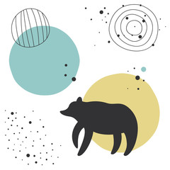 Vector seamless pattern in Scandinavian style. A silhouette of a bear. Children's print, cute background.