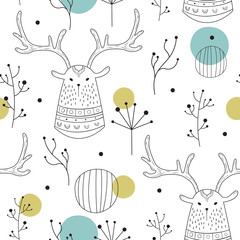 Vector seamless pattern in Scandinavian style. Deer in the woods. Children's print, cute background