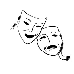 Comedy and tragedy theatrical masks.  Illustration Isolated On White