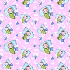 Watercolor seamless pattern on the theme of a children's illustration and a good night with a small child, around the yellow stars, the month is smiling, the moon, with soft plush toys, a hare and a b