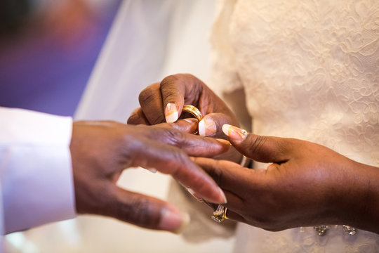 Rings exchange for black couple marriage