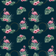 Watercolor tropical seamless pattern with flamingo, monstera leaves and hibiscus flowers. Trendy pattern for wallpapers, web page backgrounds, fabric.