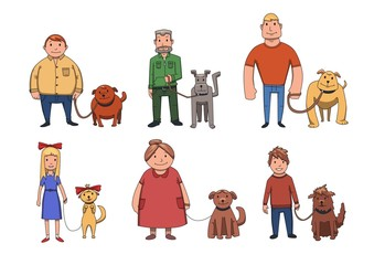 Dogs look like their owners. People walking their dogs. Cartoon vector characters illustration, isolated on white background.