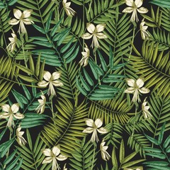 Elegant Hawaiian seamless pattern with exotic palm tree leaves and flowers on black background. Natural backdrop with foliage of tropical jungle plants. Colorful vector illustration for textile print.