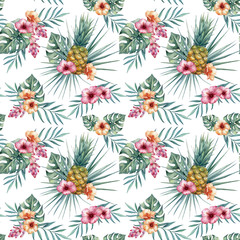 Watercolor tropical seamless pattern with pineapples, tropical flowers and leaves. Trendy floral pattern for wallpapers, web page backgrounds, fabric and other products.