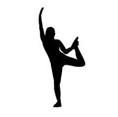 vector, icon, isolated silhouette girl doing exercises