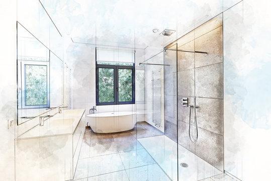 Illustration sketch of a Bathtub in corian