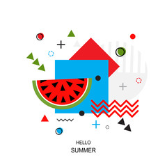 Trendy style geometric pattern with watermelon, vector illustration