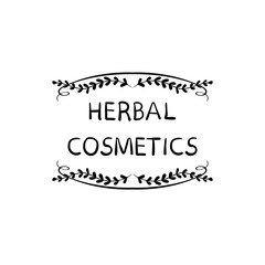 Herbal Cosmetics VECTOR Hand Drawn Packaging Stamp Label, Doodle Floral Frame, Black Lines.