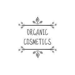 Organic Cosmetics VECTOR Packaging Stamp Label, Doodle Floral Frame, Black and White Illustration.