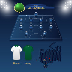 Saudi Arabia soccer jersey or football kit with match formation tactic infographic template. Football player position on football pitch and stadium map for TV broadcasting graphic. Vector.