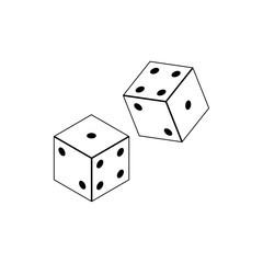 Vector dices icon. Flat isolated vector illustration on a white background.