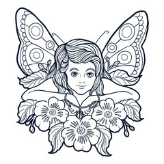 Hand drawn beautiful little fairy with butterfly wings and pearls laying in flowers and leaves. Vector isolated illustration on a white background.