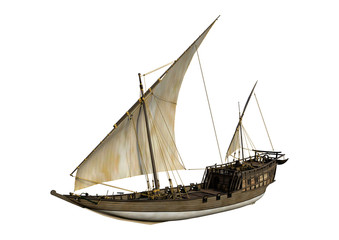 3D Rendering Sailing Ship on White