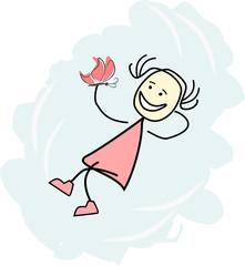 Mädchen schwebt auf einer Wolke