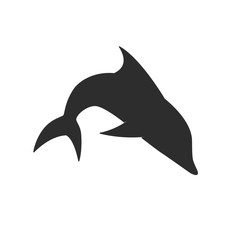 Dolphin isolated on a white background. Silhouette animal illustration. Can be used as logo, tattoo, etc.