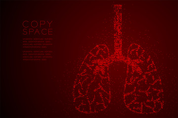 Abstract Geometric Circle dot pattern Lung shape, Medical Science Organ concept design red color illustration isolated on red gradient background with copy space, vector eps 10