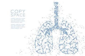Abstract Geometric square box pattern Lung shape, Medical Science Organ concept design blue color illustration isolated on white background with copy space, vector eps 10