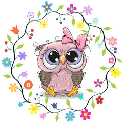 Cute Owl in a flowers frame