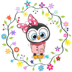 Cute Penguin girl in a flowers frame