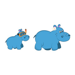 Animals of zoo. Hippo family in cartoon style. Isolated cute characters. Vector illustration