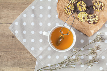 Cup of tea, chocolate, delicious nutritious cereal breads