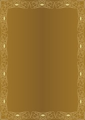 Elegant amazing golden background with golden embossed frame in art deco style. Luxury template, document design for certificate, diploma, voucher, flyer, leaflet.