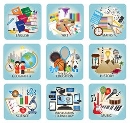 Education icons vector - School subjects
