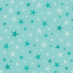 Vector Soft Blue Green Stars Seamless Pattern