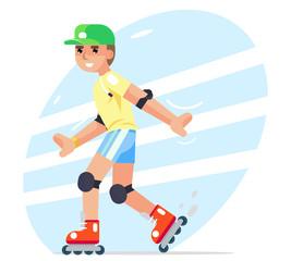 Roller boy flat design character vector illustration