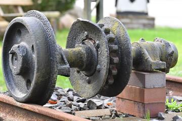 Rusty wheel of an old train