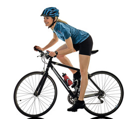 Printed kitchen splashbacks Cycling one caucasian cyclist woman cycling riding bicycle isolated on white background