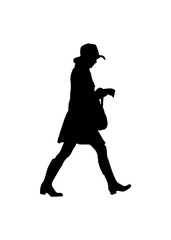 Side View Woman Walking Silhouette