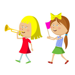 Two little girls marching with trumpet and flag
