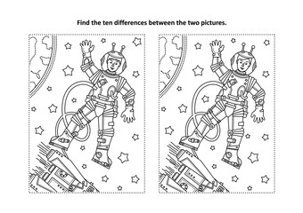 Space exploration themed find the ten differences picture puzzle and coloring page with astronaut or cosmonaut in outer space, rocket, stars, Earth