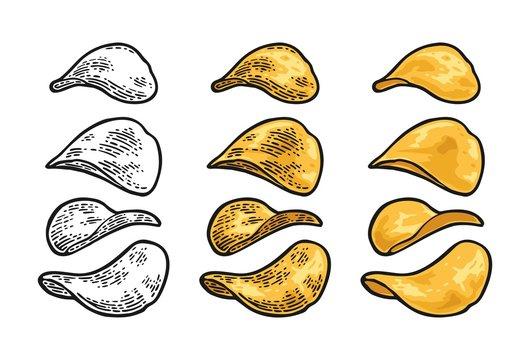Potato chips. Vector engraving vintage