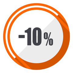 10 percent sale retail flat design orange round vector icon in eps 10