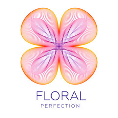 Fantastic flower icon logo, abstract shape with lots of blending lines, gradient colors. Vector illustration. Sample text - Floral perfection.