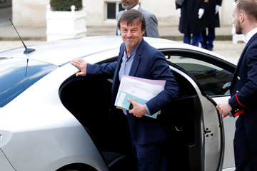 French Minister of Ecological and Social Transition Nicolas Hulot leaves the Elysee Palace in Paris,