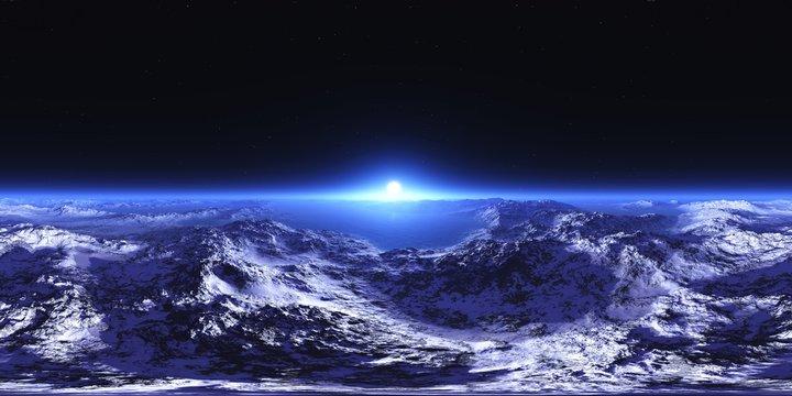 HDRI, Round panorama, spherical panorama, sunrise over the planet, sunrise over the icy moon,