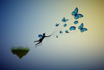 boy holding flock of blue butterflies and flying away from the flower island, fairy character, life in the dreamland on flying rock,
