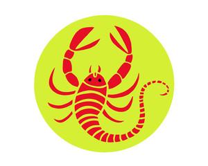 Crayfish on green background. Colorful sketch of crayfish. Cartoon illustration of red crayfish