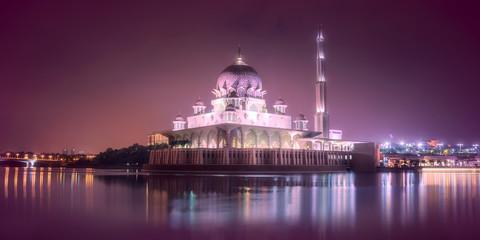 Putra Mosque with night lighting in Putrajaya