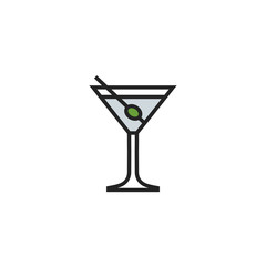 Cocktail Flat Icon Vector